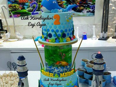 Deniz altı temalı dogum gunu pastası